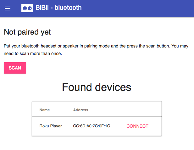 An integrated bluetooth connection dashboard allows you to push audio to any nearby headset or speaker, including your on-board BiBli speakers.